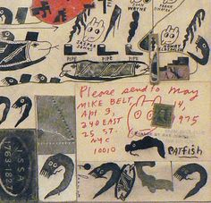 Ray Johnson. Mail art collage. An intriguing postcard. Why all the catfish? [MMO]