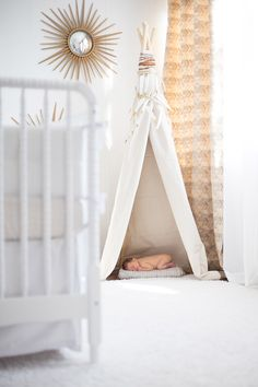 Baby Harlan and Her White and Gold Nursery | The Little Umbrella