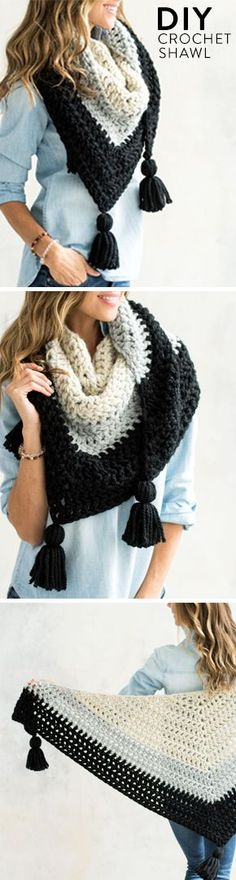 Stylish yet functional, this chic crochet wrap with tassels works up quickly in cozy thick yarn.