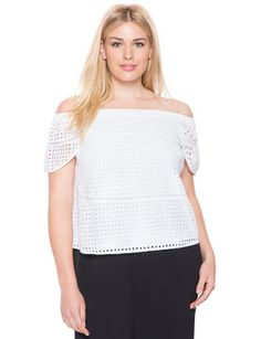 Studio Eyelet Off the Shoulder Top from eloquii.com