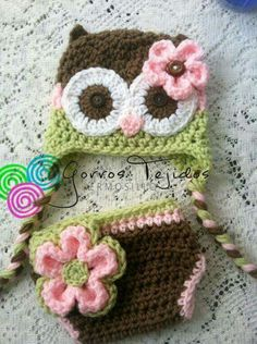 Items similar to Brown pink and celery green owl hat and diaper cover on Etsy Crochet Owl Hat, Baby Girl Crochet, Newborn Crochet, Cute Crochet, Crochet For Kids, Crochet Crafts, Yarn Crafts, Crochet Projects, Knit Crochet