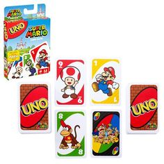 UNO: Super Mario - Card Game Join Mario, Luigi, and all their friends for a game of UNO! It's the UNO you love, but this version also includes a special Mario Uno Card Game, Uno Cards, Card Games, Super Mario Bros, Super Mario Games, Luigi, Hello Kitty Characters, Game Prices, Mattel