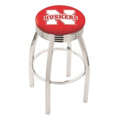 Nebraska Cornhuskers Chrome Ribbed Ring Bar Stool