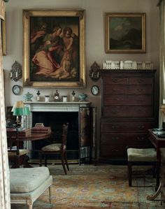 Untouched since 1964 English country style interior of Sir Albert Richardson (1880-1964), leading English architect. Room at his Bedfordshir...