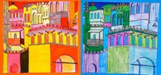 How changes the atmosphere of an ancient city if its colors are predominantly warm or cool? Here are the drawings of the students of grade 7: the walls and towers of medieval cities, which are insp…