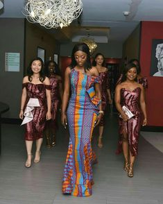 Kente Fabric Designs: See These Kente Styles For Fashionable Ladies - Lab Africa African Bridesmaid Dresses, African Wedding Attire, African Lace Dresses, Latest African Fashion Dresses, African Print Fashion, African Attire, African Traditional Wedding Dress, Kente Dress, Ankara Skirt