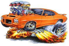Wall Graphic Mural Decal Cling Decor 71 72 GTO on Steroids Cartoon Car Cartoon Car Drawing, Cartoon Art, Pontiac Cars, Pontiac Lemans, Cool Car Drawings, Weird Cars, Crazy Cars, Truck Art, Garage Art