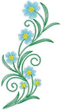 Blue flower free embroidery - Flowers free machine embroidery designs - Machine embroidery community