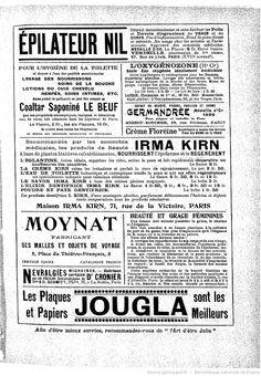 Publicités, L'Art d'être jolie : publication hebdomadaire illustrée / sous la direction de Mme Liane de Pougy, 06/08/1904