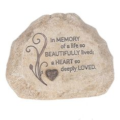 """Features:  -Angel Love collection.  -""""In memory of a life so beautifully lived, A heart so deeply loved"""" rock.  Product Type: -Letter blocks.  Subject: -Words and text.  Finish: -Beige.  Style: -Conte"""