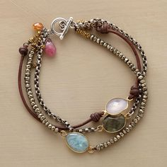 """COUNT OF THREE BRACELET -- Aquamarine, labradorite and pink chalcedony collaborate beautifully on a three-strand bracelet of brass, pyrite and sterling silver beads. 14kt gold-plated bezels. USA. Exclusive. 7-1/4""""L."""