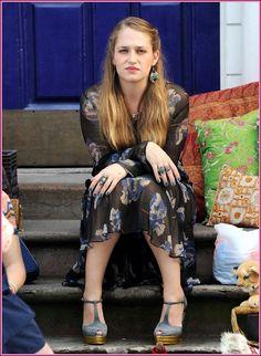 I love her sheer floral dress & shoes <3   #Jemima_Kirke #HBO_Girls