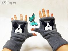 WANT! Boston Terrier Fingerless Gloves with Pockets for Dog by BZFingers, $32.00