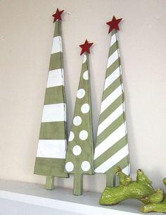 Stripes and Polka Dot Wooden Christmas Trees-cute Wooden Christmas Trees, Christmas In July, All Things Christmas, Winter Christmas, Christmas Ornaments, Xmas Trees, Pallet Christmas, Simple Christmas, Unusual Christmas Trees