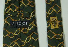 GUCCI Rich Green Gold Chains Links Authentic Tie 100% Silk RARE #gucci #NeckTie