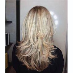 Blonde Layered Hair, Brown Blonde Hair, White Blonde, Black Hair, Long Layered Haircuts, Haircuts For Long Hair, Layered Hairstyles, Haircut Long Hair, Haircut Medium