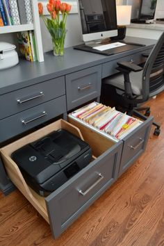 One sure way to hide a printer and computer cords – Creative Home Office Design Craft Room Office, Home, Office Built Ins, Home Office Design, Home Office Decor, Home Remodeling, House, Office Design, Home Office Organization