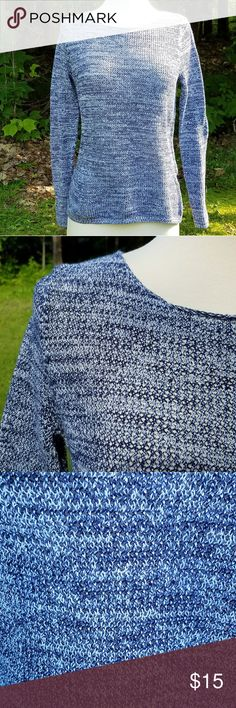 """Old Navy Blue and White Open Work Sweater Size M Beautiful open work sweater. Cobalt and white. Smoke free home.   Measurements are approximate and taken laid flat and unstretched.  Underarm to Underarm 18"""" Length from Shoulder 22"""" Old Navy Sweaters Crew & Scoop Necks"""