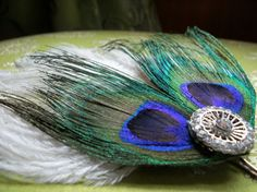 Peacock and Ostrich Feather Hair Pin by AudgePodgeInc on Etsy, $17.99 @Shalonda Tyler @Kailey Crowdes