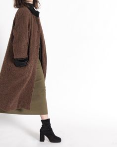 The Brown Nubby Teddy Bear Coat with Black Trim up in the shop now.