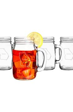 CATHY'S CONCEPTS 'Home State' Glass Drinking Jars (Set of 4) available at #Nordstrom