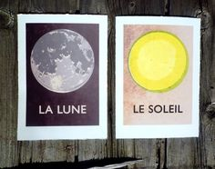 la lune and le soleil prints. upstairs gallery