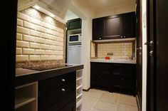 kitchen in the corridor, small spaces