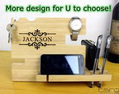 BEST Fathers Day Gift--Custom Wooden Dock and Charging Station For iPhone 5, iPhone 6, Mobile, Wallet, Pencils, Accessories