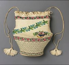 Bag. France, early 19th Century. Cotton knit with beads. From the MFA Boston: 43.1133