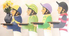 """Vaso é """"levado"""" por cavaleros em decoração do Aintree Racecourse, no Grand National Festival de Crabbie de corrida de cavalos, no Reino Unido"""