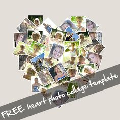 Free heart shaped photo collage template, for Photoshop/PS Elements. 12x12in, 300dpi. Great for printing and framing, for…