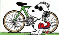 I like Snoopy and His bike