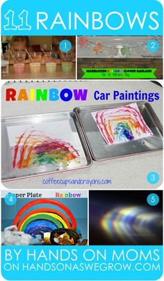 11 colorful rainbow activities for preschoolers done by hands on moms. From rainbow painting with cars to doing a rainbow science experiment. Rainbow Activities, Spring Activities, Hands On Activities, Toddler Activities, Preschool Activities, Color Activities, Kindergarten Fun, Rainbow Crafts, Preschool Ideas