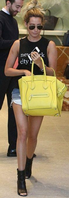 Shirt – Brandy Melville  Purse – Celine  Shoes- Chanel  Sunglasses – Ray Ban-Ashley Tisdale