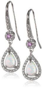 Sterling Silver Created Opal, Created Pink Sapphire and Created White Sapphire Tear Drop Earrings available at joyfulcrown.com