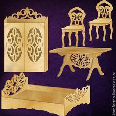 Miniature Furniture, Doll Furniture, Dollhouse Furniture, Kids Furniture, Furniture Design, Laser Cut Wood, Laser Cutting, Scroll Saw Patterns Free, Wooden Cutouts