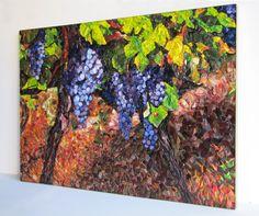 """""""O PARREIRAL"""" Painel musivo medindo 70x100cm que retrata um dos cenários mais fascinantes das regiões de vitivinicultura, os parreirais. Confeccionado com pasta vítrea e vitro cerâmica de produção genuinamente brasileira."""