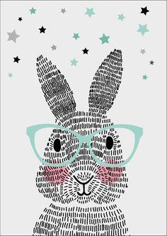 Sparkling paper poster mr. rabbit<br /> <br /> Dit konijn bestaat niet uit één, niet uit twee, maar uit honderdachtentwintig streepjes. Geen schaapjes maar streepjes tellen. Welterusten! De handgemaakte posters van Sparkling Paper. Designed to Sparkle.