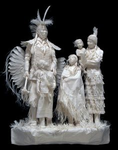"""One-of-a-kind Dancers-""""Family Powwow""""  Patty and Allen Eckman have been creating wonderful, high-detail works in their handmade, acid-free cast paper sculpture since 1988."""