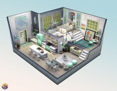 Lotes The Sims 4, The Sims 4 Packs, Sims 4 House Plans, Sims 4 House Building, Sims Freeplay Houses, Sims 4 Houses, Sims 4 House Design, Dream Home Design, Sims 4 Loft