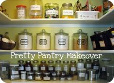 Beautiful Pantry Closet {Before and After} before and after pantry make over. A great way to organize your pantry or closet and train the kids how to put the food away after grocery shopping. It works!