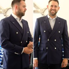 Doesn't tailor Andy look dapper in his navy double-breasted jacket!  The white mother of pearl buttons really make it pop!  #bespoke #tailors #tailoring #pearl #wow #dapper #style #stylish #fashion #wedding #navy #love #cool #fun #happy #suit #jacket #luxury #professional #you #class #alderleyedge #brand #talent #manchester #london #dress #england #june #cheshire