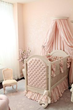 Gorgeous Baby Girl's Pink French Nursery Room ~ I LOVE THE COLORS & MATERIAL DRAPING AND RUFFLES