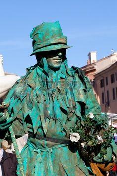 Italian Masks - Green iving statue  Stock Photo