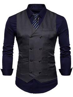 Fashion Double Breasted cotton Suit Vest Men 2018 Spring New Sleeveless Vest Waistcoat Mens Slim Fit Wedding Business Vests-ivroe Waistcoat Men, Mens Suit Vest, Mens Suits, Mens Overcoat, Jacket Men, Nike Jacket, Western Outfits, Best Suit Brands, Mens Suit Stores