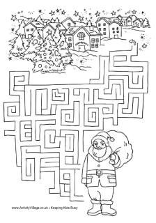 Santa maze. So many fun activities on this site! Word scrambles, coloring pages, word searches, find the differences, counting activities. Wonderful!