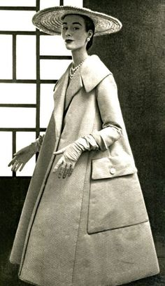 1950's fashion jacques fath swing coat with jumbo pockets