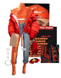 """""""orange u glad"""" by vicscloset ❤ liked on Polyvore featuring Vetements, Alexander Wang, Astrid & Miyu, Noir Jewelry and Louis Vuitton"""