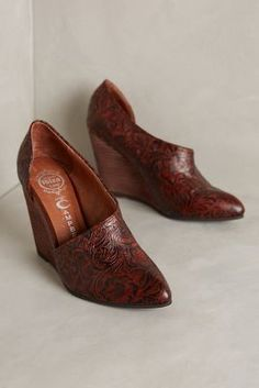 Jeffrey Campbell Tooled D'Orsay Wedges Brown Tooled Flats #anthrofave #anthropologie