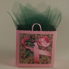 Breast Cancer Awareness Favor Gift Bag Box by ChristmasTreesNMore on etsy.